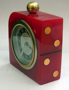 Art Deco Red Bakelite Clock with Domino Design