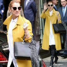 Alguém segura esta mulher!  Celine chiquérrima numa combinação de blusão branco, calça e bota pretas e sobretudo amarelo.💟 #fashion #style #celinedion