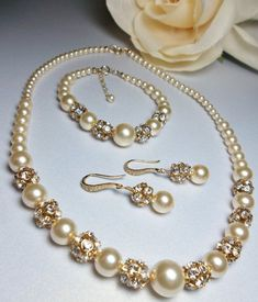 Pearl jewelry set, 3 piece set, Pearl necklace earrings and bracelet Swarovski pearls Wedding Bridal jewelry, Gift For a Bride DESTINY Gold Perle und Strass Brautschmuck Set Bead Jewellery, Pearl Jewelry, Beaded Jewelry, Jewellery Shops, Gold Jewelry, Rhinestone Jewelry, Jewellery Display, Jewlery, Bridal Jewelry Sets