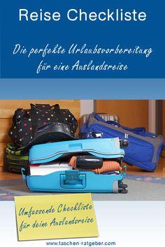 Du unternimmst in nächster Zukunft eine Auslandsreise? Wir haben dir eine umfassende Checkliste zusammengestellt, damit du auch bestimmt nichts vergisst ... Suitcase, Blog, Holiday Travel, Tips And Tricks, Things To Do, Dime Bags, Future, Suitcases, Blogging