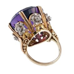 Victorian 'Tri-Gold' Amethyst Diamond Antique Cocktail Ring | From a unique collection of vintage cocktail rings at http://www.1stdibs.com/jewelry/rings/cocktail-rings/