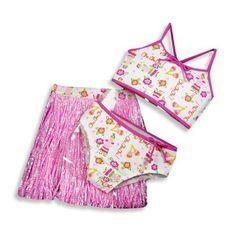 Swim 'N Pretty - Girls 3 Piece Swimwear Set, Bikini and Hula Skirt, Pink, White