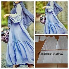 Gamis dress with gathered skirt and flare sleeve pattern . Abaya Pattern, Sleeve Pattern, Sewing Clothes, Diy Clothes, Clothing Patterns, Dress Patterns, Diy Fashion Projects, Hijab Fashion Inspiration, Muslim Dress