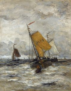 Fishing Boats on a Stormy Sea, Hendrik Willem Mesdag
