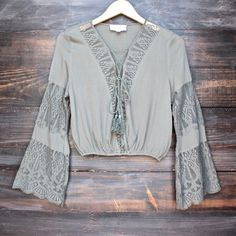 olive to meet you bell sleeve peasant top