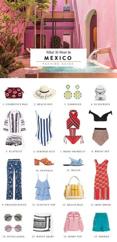 Discover what to wear in Cancun in this handy packing list featuring must have items, vacation style inspiration and the best local souvenirs from Mexico. Mexico Vacation Outfits, Outfits For Mexico, Vacation Packing, Packing List For Travel, Vacation Style, Packing Tips, Travel Style, Travel Tips, Cancun Outfits