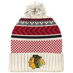 Mens Chicago Blackhawks White/Red 2015 Winter Classic Cuffed Knit Hat with Pom
