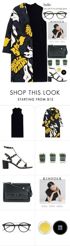 """high spirits"" by evangeline-lily ❤ liked on Polyvore featuring The Row, Cédric Charlier, Valentino, Marni, Bottega Veneta, Givenchy, valentino, blackdress, marni and floralprints"