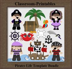 Clipart Templates for Scrapbooking.    Pirates Life Clipart Template Bundle. For Digital Scrapbooking, Clipart, Creating Cards & Printables.    Comes PSD Format  For Use in Photoshop and Graphics Programs