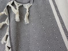 Large Organic Blanket Throw | Grey Queen Bedspread Coverlet with fringes | Handwoven Cotton Diamond Rhomb Pattern | Boho Gift for couple