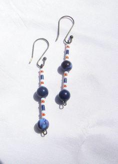 Chicago Bears Football Earrings/ NFL Football Chicago Navy Blue,Orange and White Dangle Earrings/NFL Football Bears Team Colors #shopping #Etsy_Today