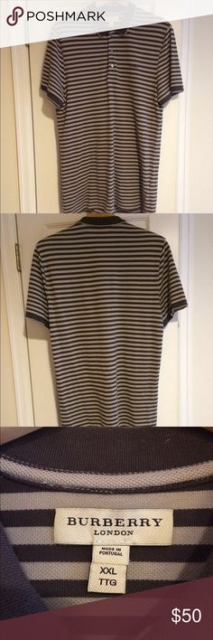 Men's BURBERRY Striped S/S Polo - Size XXL Men's authentic Burberry shirt sleeve polo in a size XXL. Dark brown with light brown stripes. In excellent condition - only worn a few times. Burberry Shirts Polos