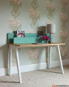 DIY Modern Lindsay Desk- Free Diy Plans    rogueengineer.com #ModernLindsayDesk #HomeofficeDIYplans