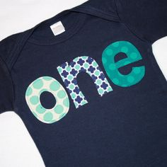 Boys ONE Shirt for First Birthday - 12-18 month long sleeved navy blue tshirt with aqua and white lettering - READY to Ship