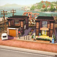 Tiny House\Converted Dock I tricked the game. Coffee shop doesn't have any tiles, hehe. No rooms=no tiles=counts as tiny house. Sims 4 House Plans, Sims 4 House Building, Dock House, Muebles Sims 4 Cc, Sims 4 House Design, Tiny House Layout, Casas The Sims 4, Sims 4 Characters, Video Game Rooms