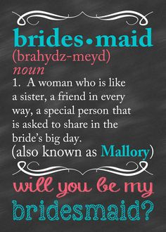 Bridesmaid Card Will You Be My Bridesmaid Card by CLaceyDesign @Melissa Squires Squires Rivera