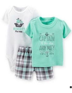 Carters Baby Boys 3 Piece Layette Set Baby Ahoy Matey Newborn ** Click image for even more details. (This is an affiliate link). Newborn Boy Clothes, Newborn Outfits, Baby Boy Newborn, Cute Baby Clothes, Little Boy Outfits, Baby Boy Outfits, Kids Outfits, Spring Outfits, Body Suit With Shorts