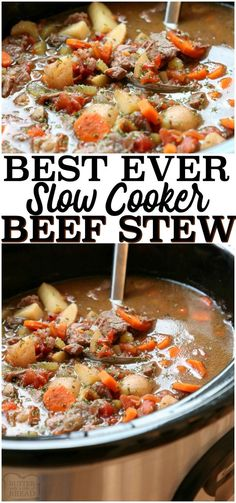 Best Crock Pot Beef Stew recipe made with tender chunks of beef, loads of vegetables and a simple mixture of broth and spices that yields incredible home style beef stew. Tips for making more flavorful stew & time saving ideas to make faster stew. Best Crockpot Beef Stew, Best Slow Cooker, Slow Cooker Beef, Slow Cooker Recipes, Cooking Recipes, Bread Crockpot, Recipe For Crock Pot Beef Stew, Taste Of Home Beef Stew Recipe, Beef Stew Crock Pot