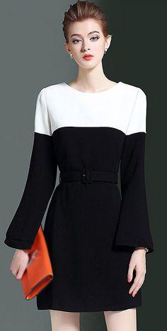Brief O-Neck Hit Color Slim A-Line Dress. Evan Wang · Design Dresses bc9430ffa3bf