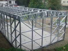 Portfolio of The Lightweight Steel Structures Factory - UnicRotarex®. Steel houses and industrial buildings done by our technology in the entire world. Metal Garage Buildings, Metal Garages, Steel Frame House, Steel House, Diy Dream Home, Steel Framing, Metal Barn Homes, Building Foundation, Steel Frame Construction