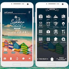 """Colorful Beach Shacks"" 7/10 '15 Bringing these shacks to your smartphone will make you feel like you're on the beach. You can almost smell the sea! http://app.android.atm-plushome.com/app.php/app/themeDetail?material_id=1288&rf=pinterest #wallpaper #design #icon #beautiful #plushome"
