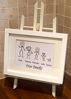 £15 This quirky Button Family Frame is a wonderful addition for your home or to give to family or friends as a unique gift. I have developed these cute stick people with colourful button heads. The artwork can also be completed with the family pet! The Family stands side by side in the oder of your choice. Beneath this is the Family Surname or 'Our Family'.