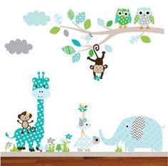 Vinyl Wall Decal Modern Animal Aztec Patterns by wallartdesign Aztec Nursery, Safari Nursery, Nursery Themes, Nursery Wall Decals, Vinyl Wall Decals, Wall Stickers, Motifs Aztèques, Dental Office Decor, Playroom Decor
