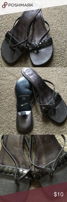 🎉🎉sale🎉🎉Cute pewter sandals Pewter sandals with kitten heel - used condition but in good shape. Shoes Sandals