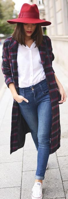 Great Red Hat with Plaid Coat and High Waist Jeans...