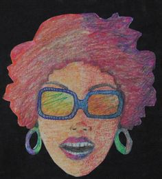 black Power - Rosto inspirado num estado de espírito. Criado com lápis de cor.