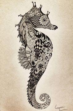 Seahorse- tattoo idea (I would make it so very colorful)