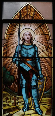 Stained glass image of St. Joan of Arc. Our Lady of Lourdes Church, De Pere, Wis. (Sam Lucero photo)