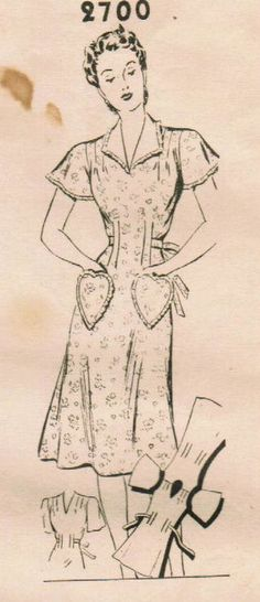 40's pattern for house dress with heart pockets.