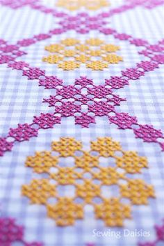 cross stitch on gingham