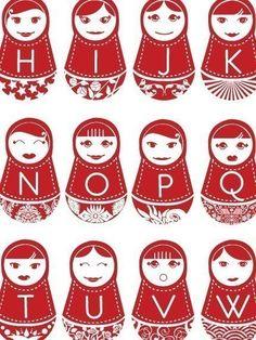 Russian dolls alphabet