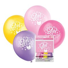 Create atmosphere with these gorgeous balloons from the pink clothesline range. This range feature a clothesline with cute baby girl clothing items such as a dress, a pair of socks and a bib hanging from the line. The colours featured in this range are lovely and bright with pinks, white and purple.These balloons are of helium quality so can be filled with helium if preferred to air fill. Made from natural rubber latex.