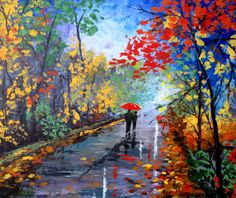 Original Abstract Painting - Autumn Walk - Acrylic Contemporary Art - Ready To Hang On The Wall