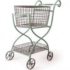 French-Vintage Inspired Shopping Cart With Wheels