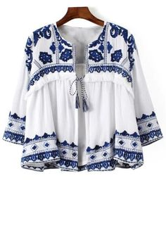 Blue and White Porcelain Blouse