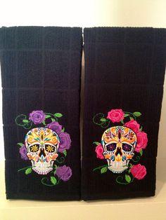 Sugar skull kitchen towel - choose your colors - My Sugar Skulls