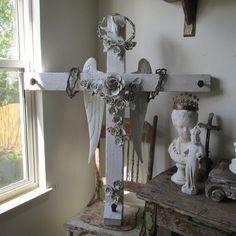 Large handmade crucifix French Nordic white by AnitaSperoDesign