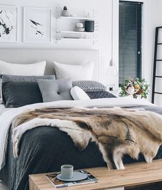 white room, black blinds, and neutral to dark bedding - also, no fur pls
