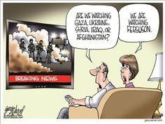 Political Cartoons by Gary Varvel.  Ferguson, MO riots.