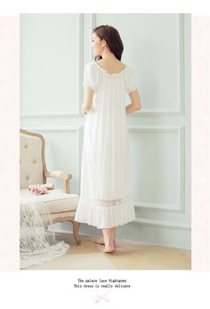 dress long white nightgown Women Nightgowns Cotton Short Sleeve sexy nightwear vestido vintage sleepwear Cotton Nightwear, White Nightgown, One Piece Pajamas, Nightgowns For Women, One Piece Dress, Dress First, Cotton Shorts, Night Gown, Cold Shoulder Dress