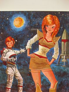 What do you think of my rocket baby, vintage big eye dollie postcard