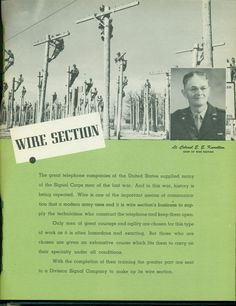 Lt. Col. E. E. Knowlton, Chief of Wire Section Scrapbook Paper Crafts, Scrapbooking, United States, Wire, Memories, History, School, Books, Pictures