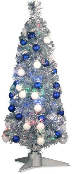 Tinsel Trees 6' White Artificial Christmas Tree With Metal Stand  - 36 Fiber Optic Christmas Tree