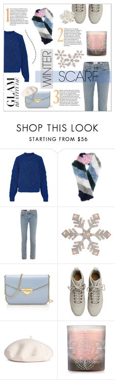 """""""WARM IN SCARF"""" by sodapopcandy ❤ liked on Polyvore featuring Isabel Marant, RE/DONE, Northlight Homestore, Saint Tropez, Fear of God, Lola's Apothecary, Allstate Floral, winterfashion, winterstyle and winterscarf"""