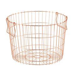 "Round Copper Wire Storage Basket (14-1/2"" diameter & 10"" tall.) Also in silver and white."