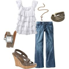 nothin' better or easier than a pair of jeans, cute white top and a pair of fun wedge sandals!